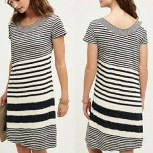 Anthropologie Maeve Navy Blue Striped Dress